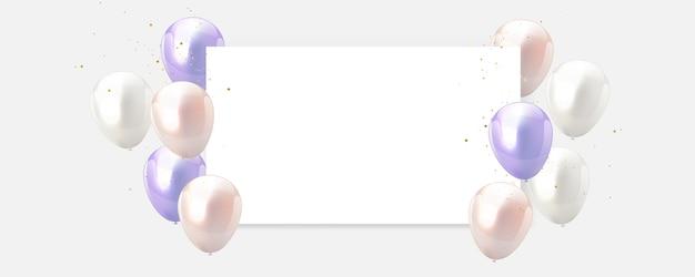 Sweet color balloons frame Premium Vector