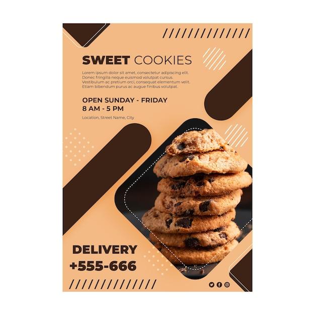 Concetto di poster di biscotti dolci Vettore gratuito