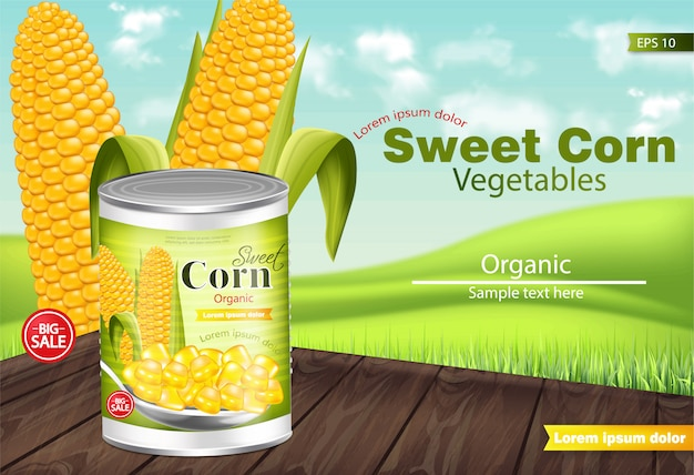 Sweet corn mockup Premium Vector