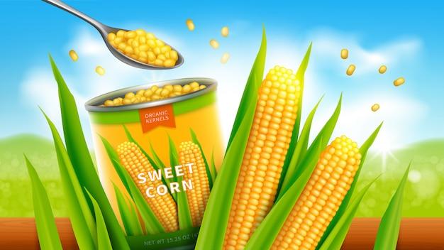 Сладкая кукуруза реалистичный вектор рекламный дизайн Бесплатные векторы