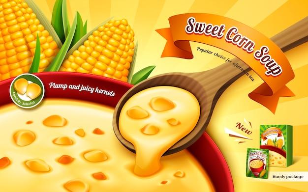 Реклама сладкого кукурузного супа с крупным планом и элементами кукурузного ядра Premium векторы