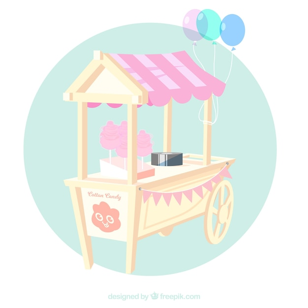 Sweet cotton candy cart with balloons
