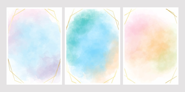 Sweet Cotton Candy Watercolor Background With Golden Frame