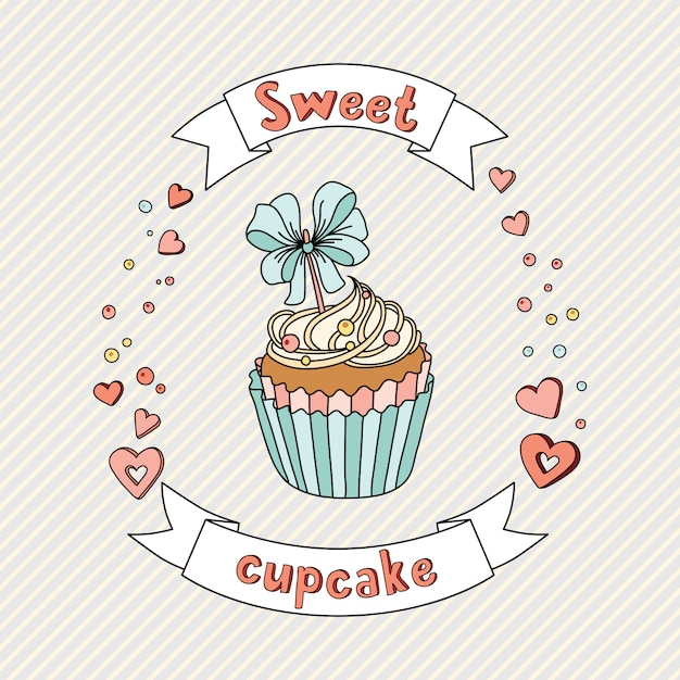 Sweet cupcake on delicate background. cupcake collection Premium Vector