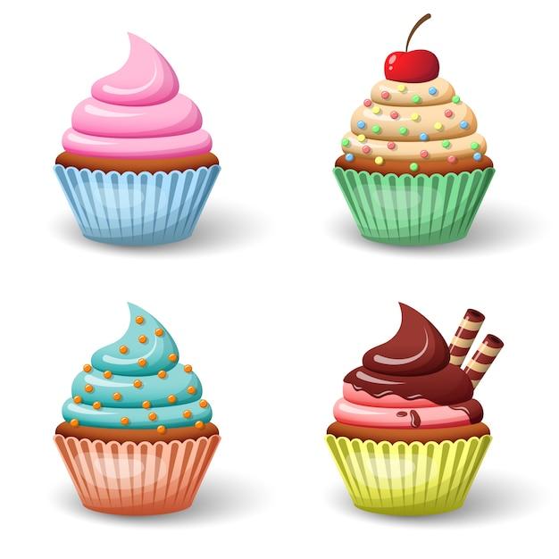 Sweet cupcake set Premium Vector