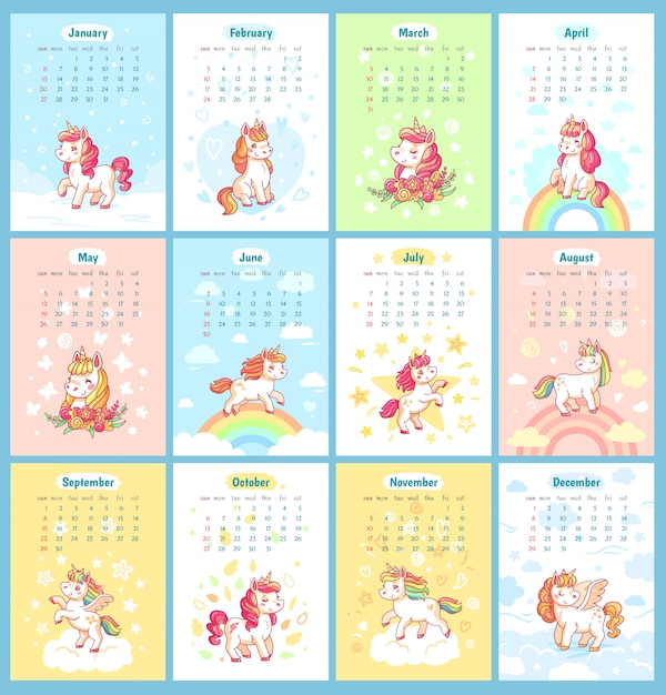 graphic relating to Cute Calendars called Cute adorable magic unicorn 2019 calendar for children. fairy