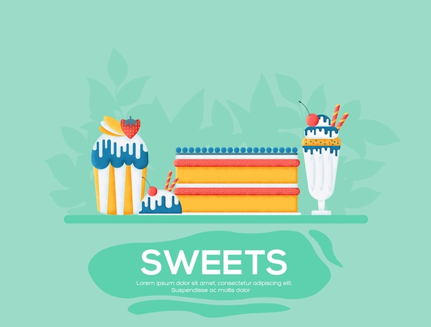 Sweet day flyer, magazines, poster, book cover, banners. grain texture and noise effect. Premium Vector