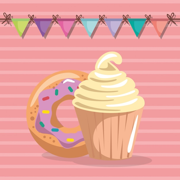 Sweet and delicious cupcake with donut birthday card Free Vector