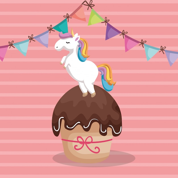 Sweet and delicious cupcake with unicorn Free Vector