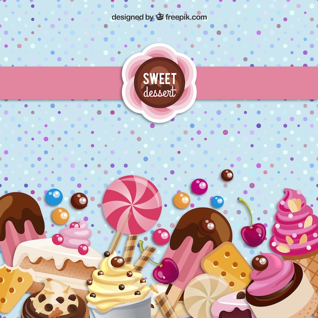 Sweet dessert background Free Vector