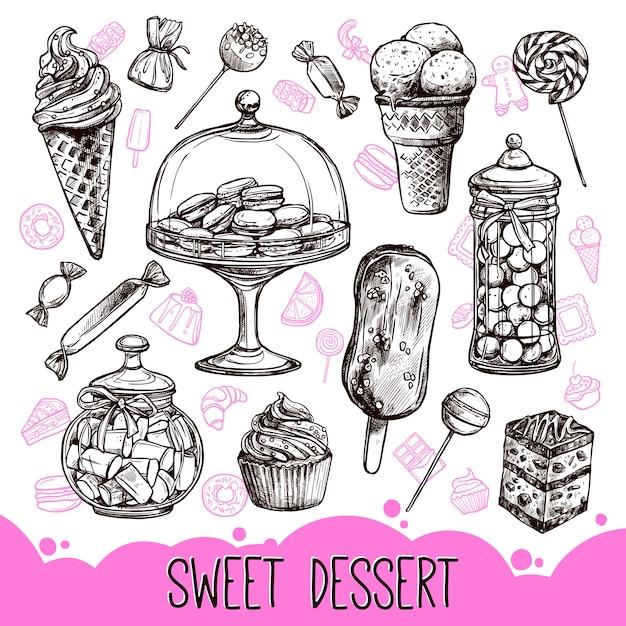Sweet dessert set Free Vector