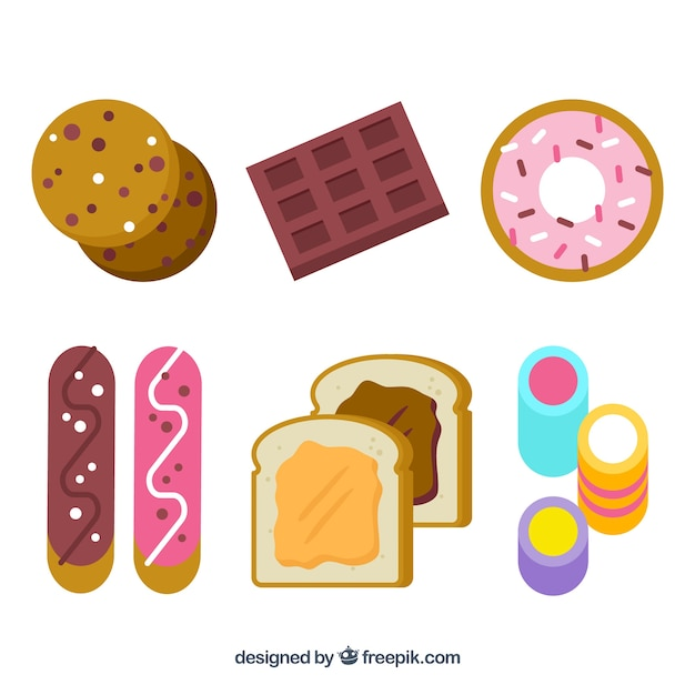 Sweet desserts collection in flat style Free Vector