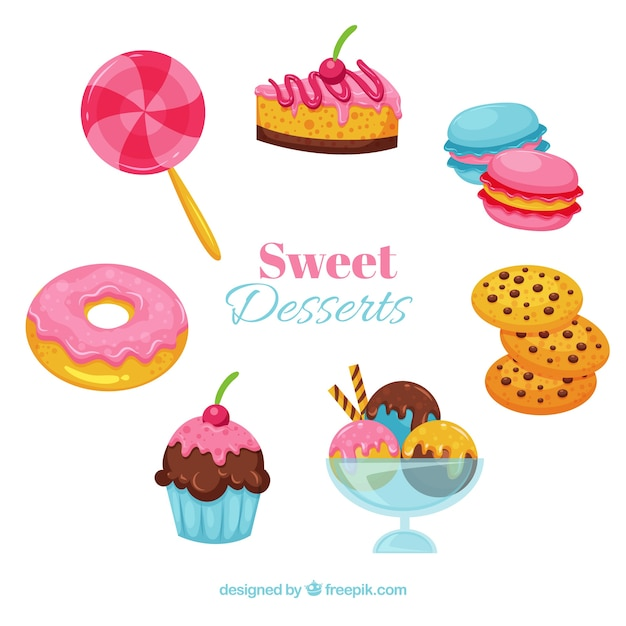 Sweet desserts collection in hand drawn style Free Vector