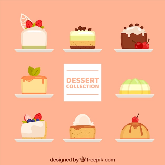 Sweet desserts collection in hand drawn\ style