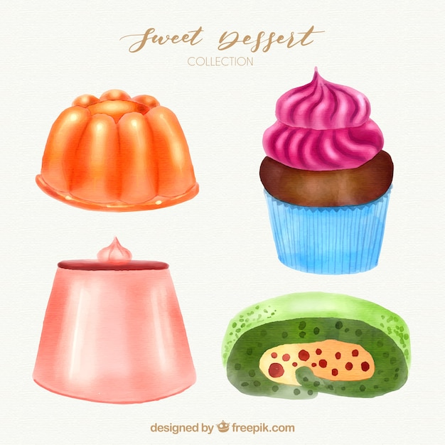 Sweet desserts collection in watercolor style Free Vector
