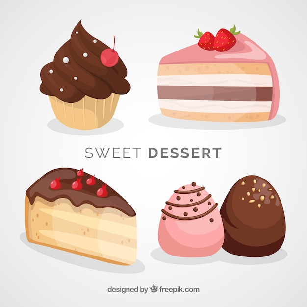 Sweet desserts collection with chocolate