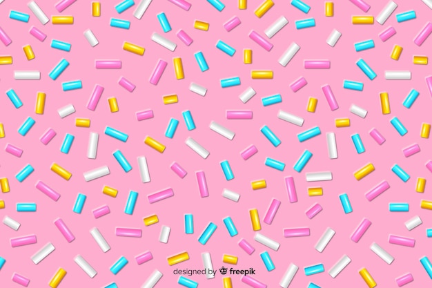 Sweet donut glaze with sprinkles Free Vector