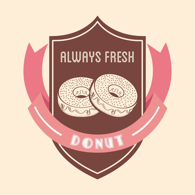 Sweet donuts badge Free Vector