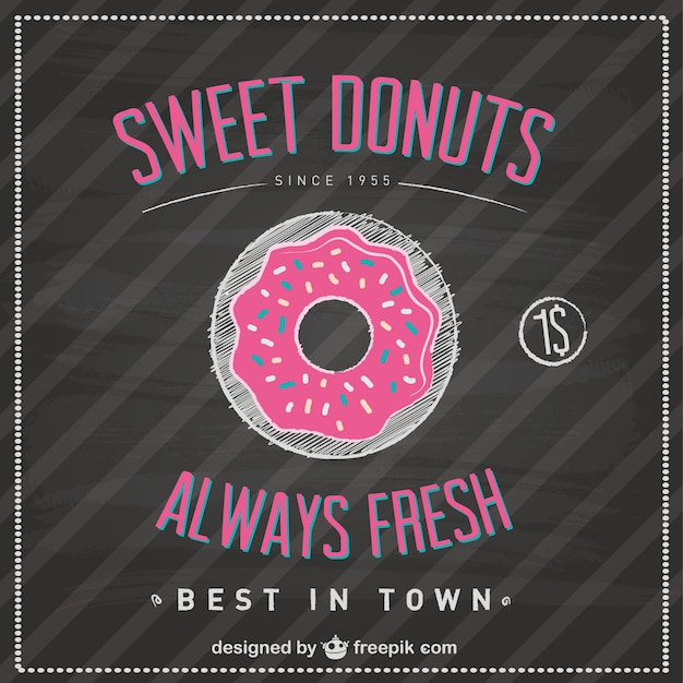 sweet donuts blackboard template vector free download