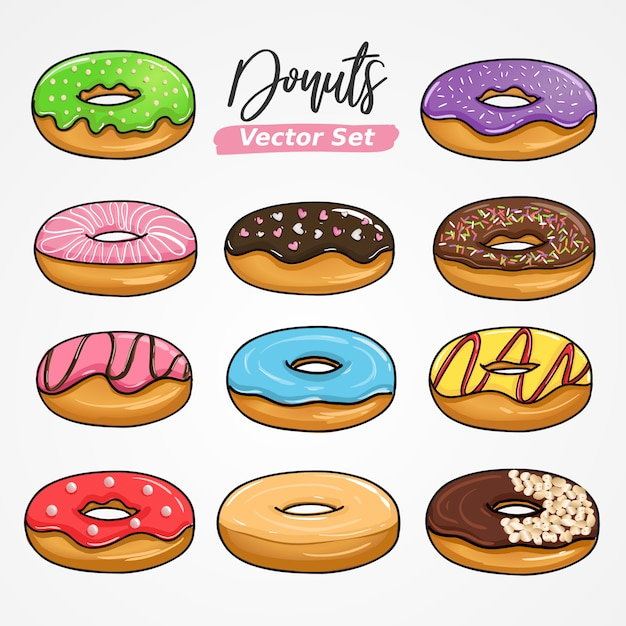 Sweet Donuts Hand Drawing Vector In Big Set Collection Premium