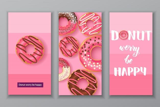Сладкие пончики иллюстрации набор карт. пончик беспокоиться быть счастливым надписи Premium векторы