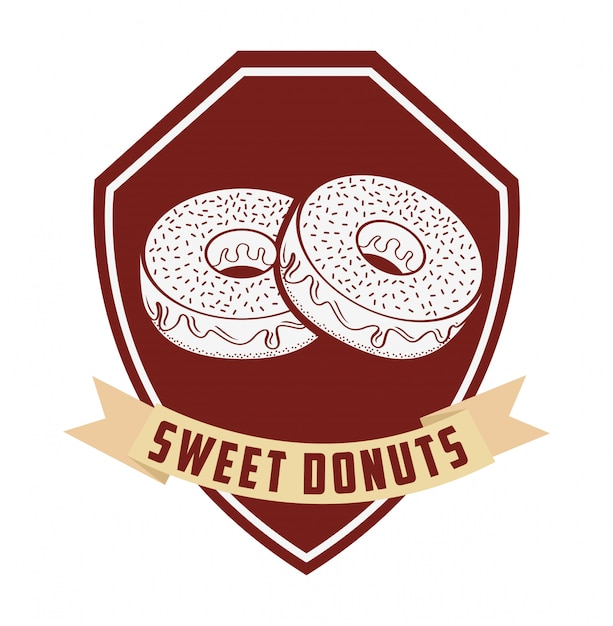 Sweet donuts label Free Vector