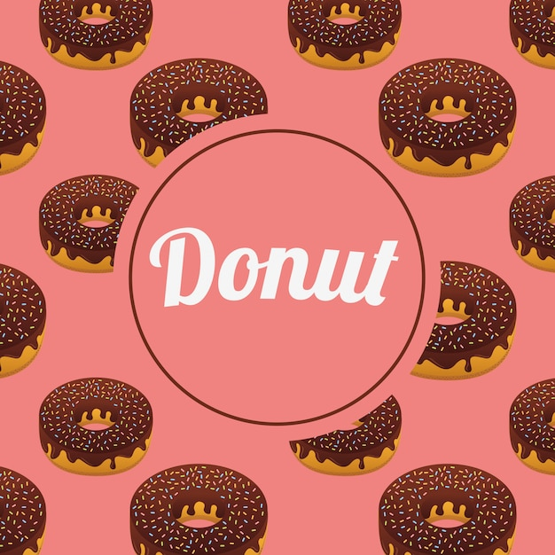 Sweet donuts seamless pattern with circle frame Free Vector