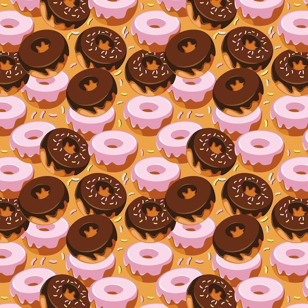 Sweet doughnut seamless pattern design Premium Vector