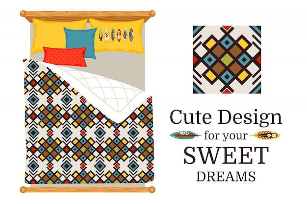 Sweet dreams deisgn bed sheets with decorative geometric ornamental pattern, and pattern piece, vector illustration Premium Vector