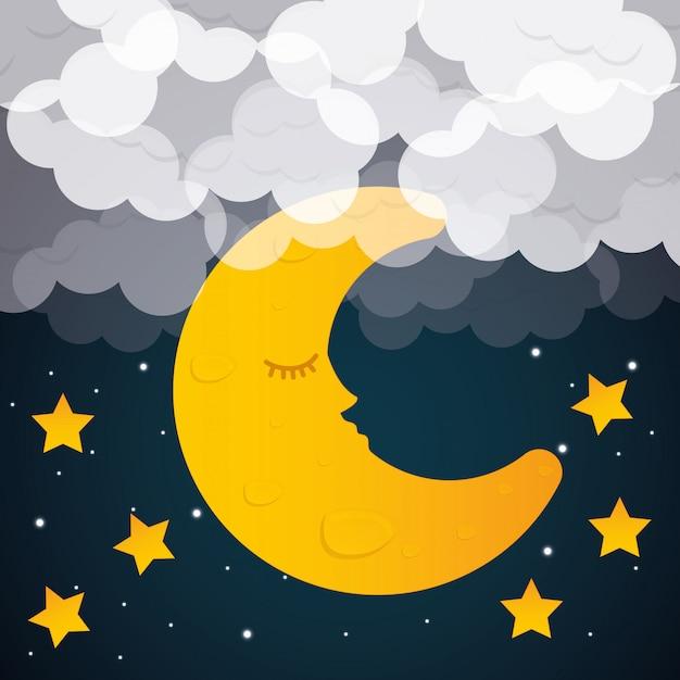 Sweet dreams design. Premium Vector