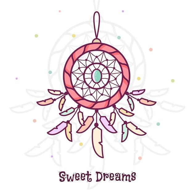 Sweet dreams. dreamcatcher. vector illustration. Premium Vector