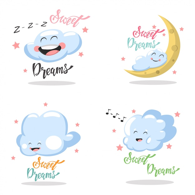Sweet dreams hand drawn lettering set isolated white Premium Vector