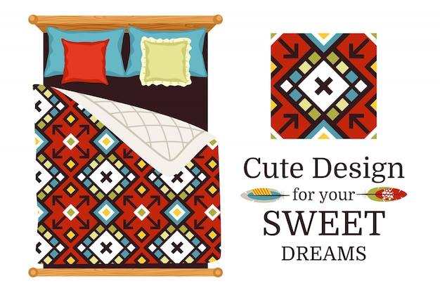 Sweet dreams ornamental pattern sample and bed sheets as an example, vector illustration Premium Vector