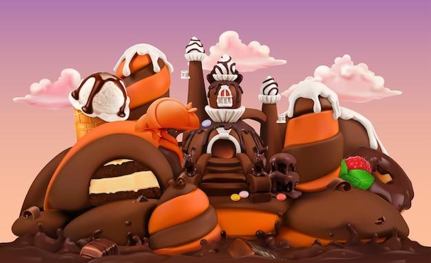 甘い工場。チョコレート城3dベクトル漫画イラスト。塑像用粘土アート Premiumベクター