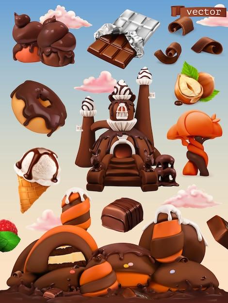 Sweet factory. chocolate castle cartoon illustration. 3d vector icon set Premium Vector