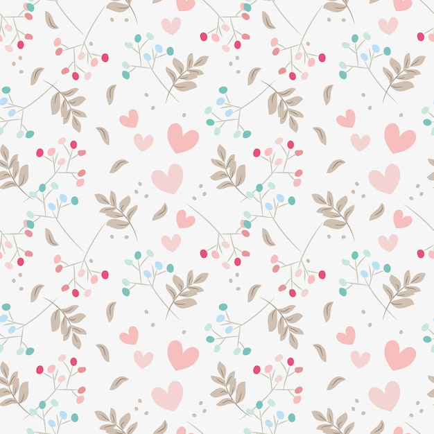 Sweet floral and tiny hearts seamless pattern. Premium Vector