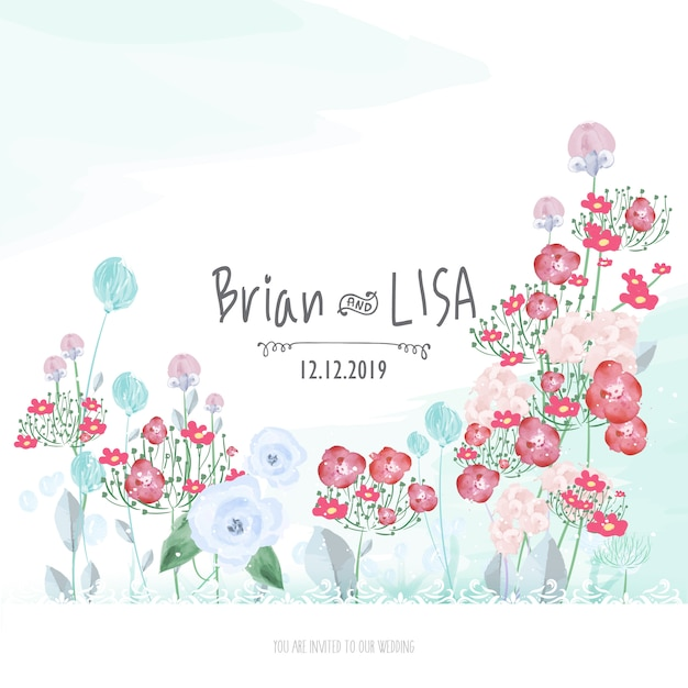 Sweet floral wedding card in watercolor style. Premium Vector
