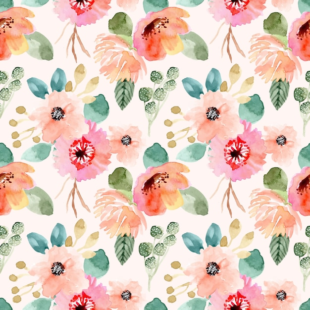 Sweet flower watercolor seamless pattern Premium Vector