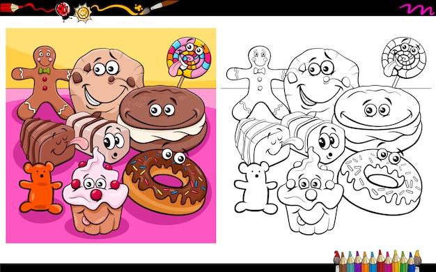 Sweet food characters coloring book Premium Vector
