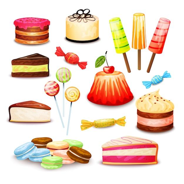 Sweet food set Free Vector