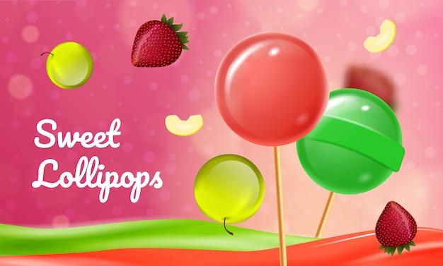 Sweet fruit lollipops on pink background Premium Vector