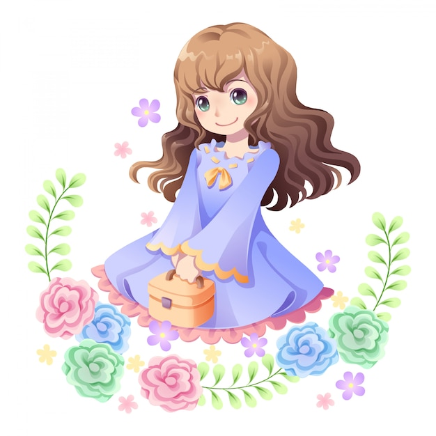 A sweet girl character and flower frame Premium Vector