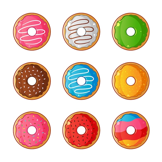 Сладкие глазированные пончики набор иллюстрации Premium векторы