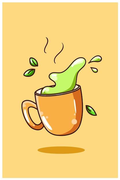 Сладкий зеленый чай иллюстрации шаржа Premium векторы