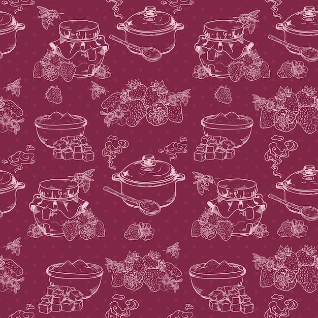 Sweet and healthy homemade strawberry jam outline seamless pattern with berries and sugar vector illustration Premium Vector