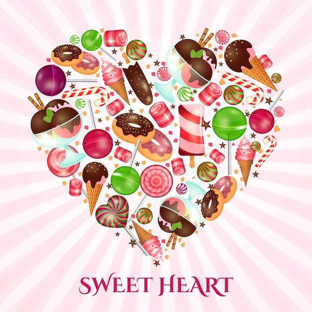 Sweet heart poster for sweet shop. food dessert, donut and candy, confectionery cake, Free Vector