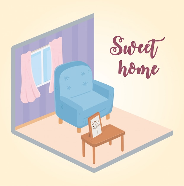 Sweet home armchair table with picture frame window isometric design Premium Vector