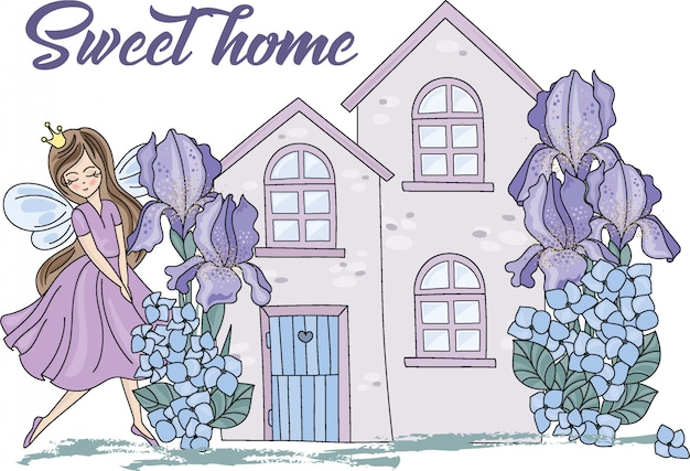 Sweet home cartoon color illustration Premium Vector