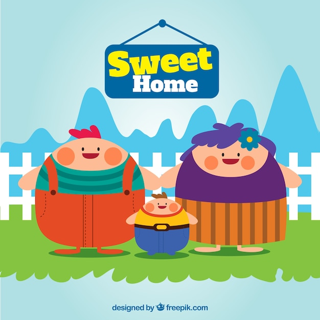 Sweet home illustration Free Vector