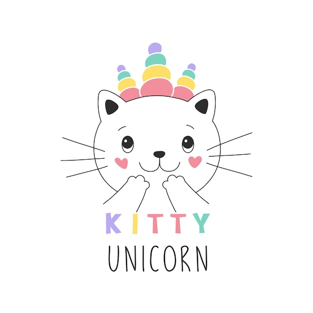 Sweet kitty unicorn girlish illustration Premium Vector